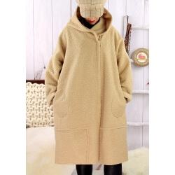 Manteau capuche bouclette beige EDDY Manteau femme grande taille