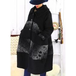 Manteau femme grande taille laine bouillie noir ARTHUR Manteau femme grande taille