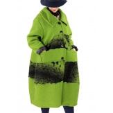 Manteau femme grande taille laine bouillie vert ARTHUR Manteau femme grande taille
