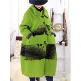 Manteau femme grande taille laine bouillie ARTHUR Vert