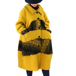 Manteau femme grande taille laine bouillie ARTHUR Moutarde