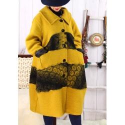 Manteau femme grande taille laine bouillie moutarde ARTHUR Manteau femme grande taille
