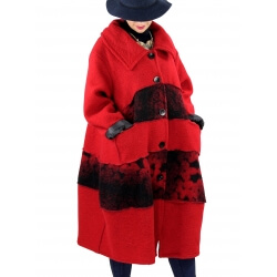 Manteau femme grande taille laine bouillie ARTHUR Rouge