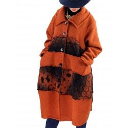 Manteau femme grande taille laine bouillie ARTHUR Rouille-Manteau femme grande taille-CHARLESELIE94