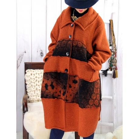 Manteau femme grande taille laine bouillie rouille ARTHUR Manteau femme grande taille