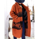 Manteau femme grande taille laine bouillie ARTHUR Rouille