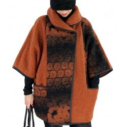 Veste cape laine bouillie grande taille HUGO Rouille