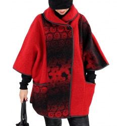 Veste cape laine bouillie grande taille HUGO Rouge