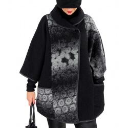 Veste cape laine bouillie grande taille HUGO Noir