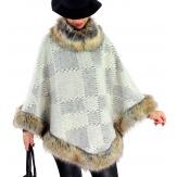 Cape laine fourrure grande taille ANGELINA Beige