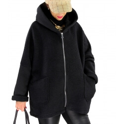 Veste capuche grande taille laine bouillie HARRY Noir