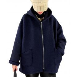 Veste capuche grande taille laine bouillie HARRY Bleu marine