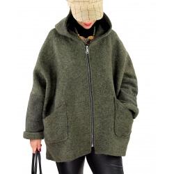Veste capuche grande taille laine bouillie HARRY Kaki