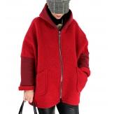 Veste capuche grande taille laine bouillie HARRY Rouge