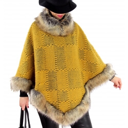 Cape laine fourrure grande taille ANGELINA Moutarde