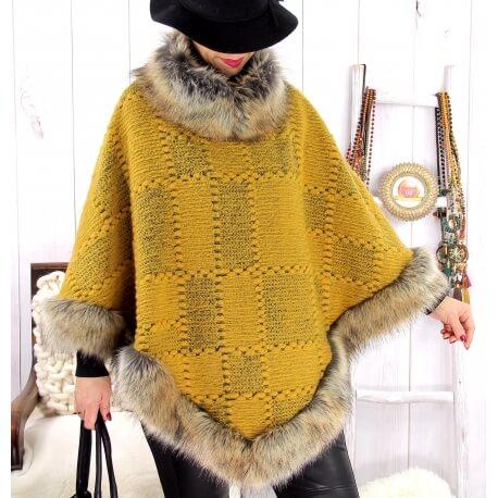 Cape laine fourrure grande taille ANGELINA Moutarde Cape femme grande taille
