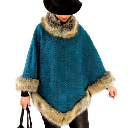 Cape laine fourrure grande taille ANGELINA Canard