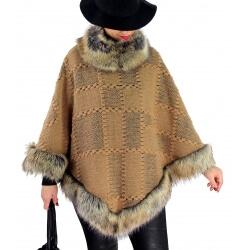 Cape laine fourrure grande taille ANGELINA Camel