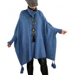 Poncho pull hiver grande taille pompons PERLA Bleu