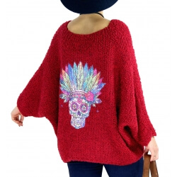 Pull grosse maille laine mohair loose TIPY Bordeaux