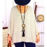 Pull grosse maille laine mohair loose TIPY Beige