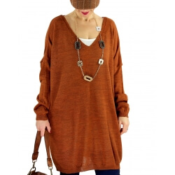 Pull long femme grande taille laine VENISE Rouille