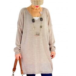 Pull long femme grande taille laine VENISE Beige