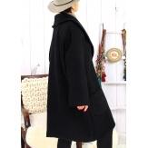 Manteau hiver femme laine bouillie grande taille bohème noir SABINE