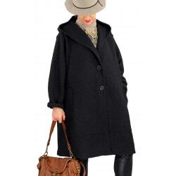 Manteau grande taille capuche bouclette NAPLES Noir