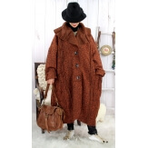 Manteau long femme grande taille laine PIALA Rouille