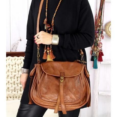 Grand sac cuir vintage délavé clous BOSTON Camel