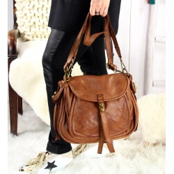 Grand sac cuir vintage délavé clous BOSTON Camel Sacs à main
