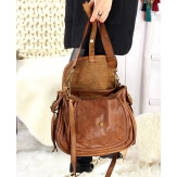 Grand sac cuir vintage délavé clous BOSTON Camel Sacs à main