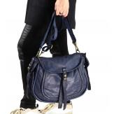 Grand sac cuir vintage délavé clous BOSTON Marine