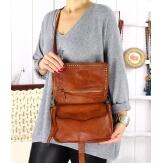Sac pochette cuir vintage clous ATLANTA Camel-Sacs à main-CHARLESELIE94
