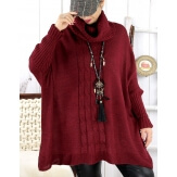 Poncho pull hiver grande taille mohair ARIANA Bordeaux