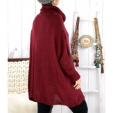Poncho pull hiver grande taille mohair bordeaux ARIANA Pull femme grande taille