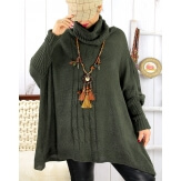 Poncho pull hiver grande taille mohair ARIANA Kaki