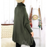 Poncho pull hiver grande taille mohair kaki ARIANA Pull femme grande taille