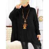 Poncho pull hiver grande taille mohair noir ARIANA Pull femme grande taille
