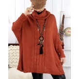 Poncho pull hiver grande taille mohair ARIANA Rouille