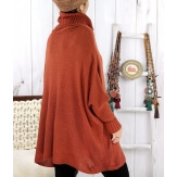 Poncho pull hiver grande taille mohair rouille ARIANA Pull femme grande taille