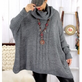Poncho pull hiver grande taille mohair ARIANA Gris