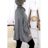 Poncho pull hiver grande taille mohair gris ARIANA Pull femme grande taille