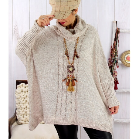 Poncho pull hiver grande taille mohair ARIANA Beige Pull femme grande taille