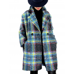 Manteau femme grande taille bouclette ROCHA Bleu