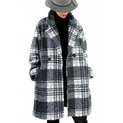 Manteau femme grande taille bouclette ROCHA Noir