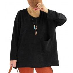 Pull tunique hiver grande taille FUEGO Noir