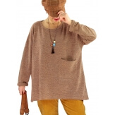 Pull tunique hiver grande taille FUEGO Chocolat