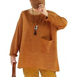 Pull tunique hiver grande taille FUEGO Moutarde